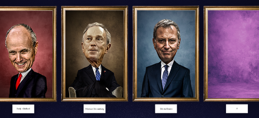 Paintings of the previous New York City mayors, and a blank frame