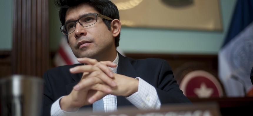 New York City Councilman Carlos Menchaca at a hearing.