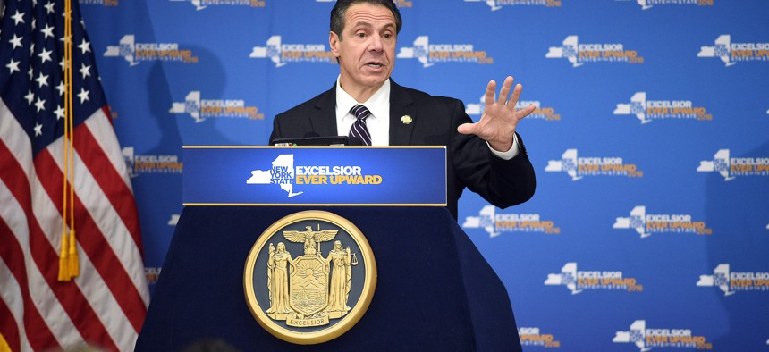 Gov. Andrew Cuomo kicks off the Tax Fairness for New York Campaign to move to sue the federal government over the tax overhaul in February.