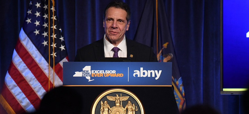 Gov. Andrew Cuomo makes an announcement at the Association for a Better New York breakfast on April 5, 2018.