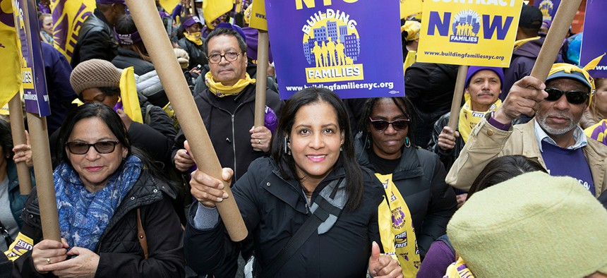 A 32BJ rally in New York City earlier this year.