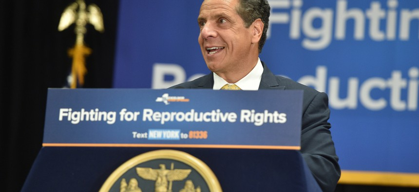 Gov. Andrew Cuomo at a rally following President Donald Trump's decision Monday night to nominate Brett Kavanaugh to the U.S. Supreme Court.