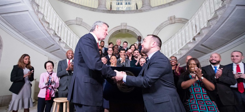 Mayor Bill de Blasio and Council Speaker Corey Johnson handshake agreement 2018
