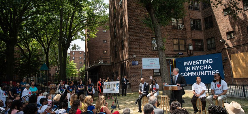 Mayor Bill de Blasio announcing a new community center to be built at the Marcy Houses in Brooklyn.