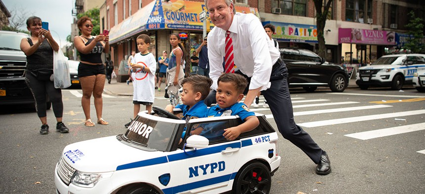 Mayor Bill de Blasio and Police Commissioner James O'Neill participate in National Night Out Against Crime, August 2018.