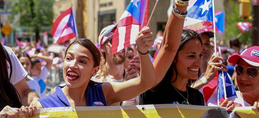 Rep. Alexandria Ocasio-Cortez attending the annual National Puerto Rican Day Parade in New York City.