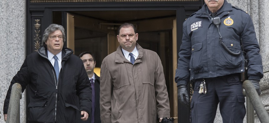 Joseph Percoco leaves U.S. District Court, Tuesday, after being convicted on corruption charges.