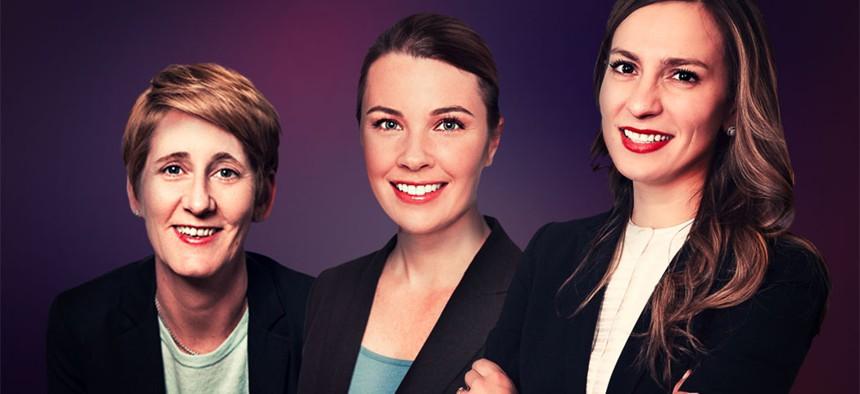 Karen Franz, Cathleen Collins and state Sen. Alessandra Biaggi.