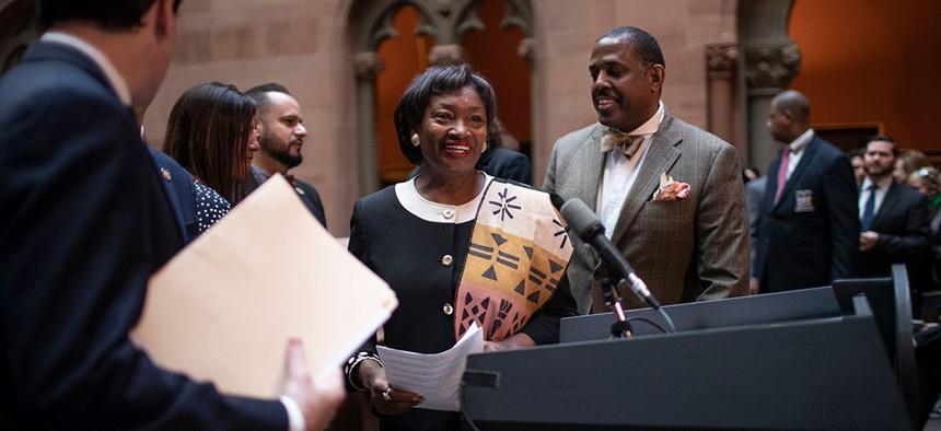 Senate Majority Leader Andrea Stewart-Cousins passes legislation to protect New Yorkers against toxic materials.