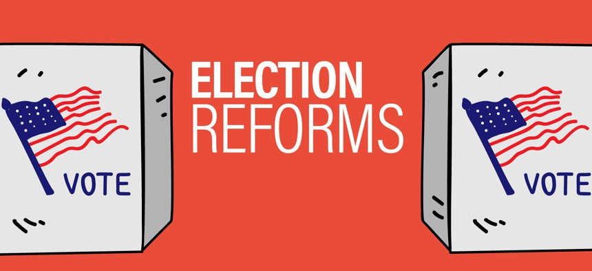 """A voting box with the words """"election reform"""""""