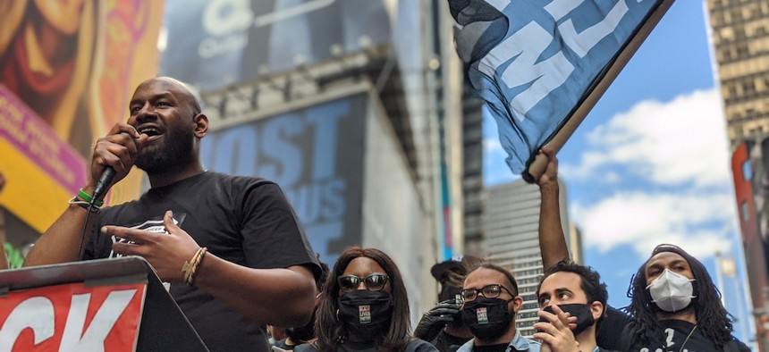 Chairperson at Black Lives Matter New York Hawk Newsome at a protest at Times Square on June 7, 2020.