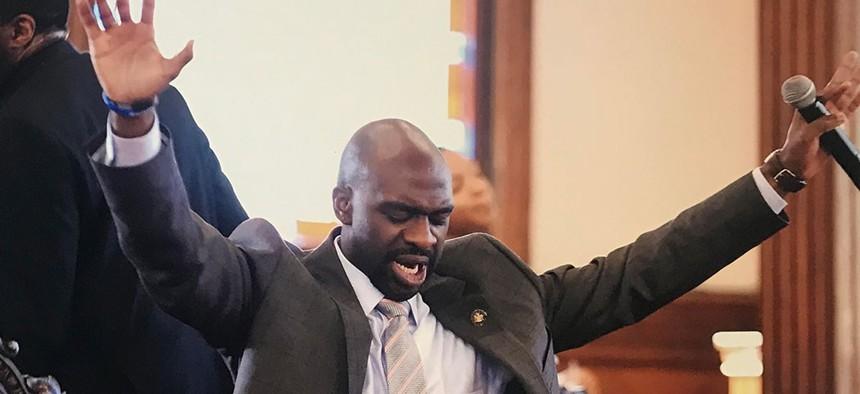 New York Assemblyman Michael Blake preaching.