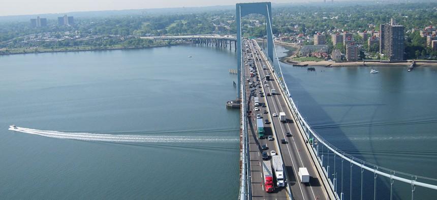 Traffic on the Throngs Neck Bridge.