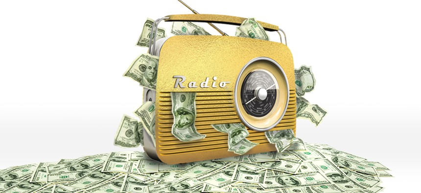 Radio with money coming out
