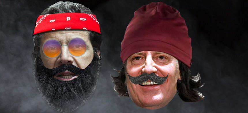 Andrew Cuomo and Bill de Blasio looking like Cheech and Chong
