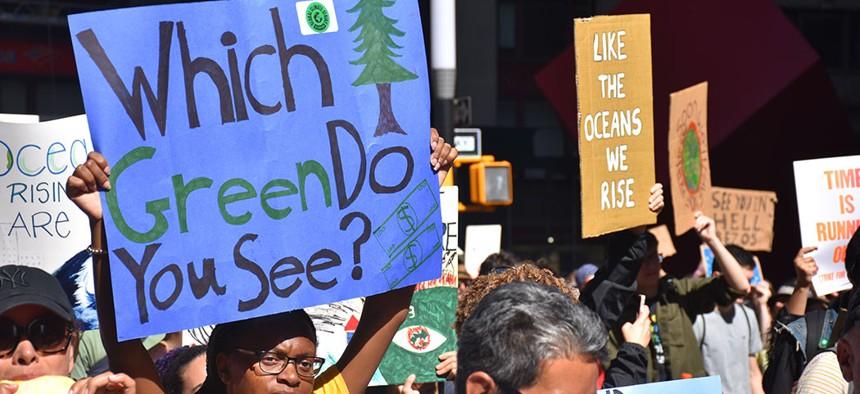 Protestors taking part in the Climate Strike in New York City.