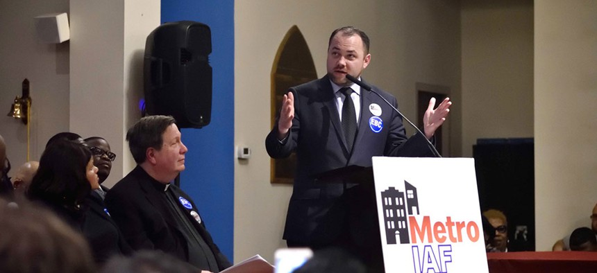 Speaker Corey Johnson speaking at the Affordable Housing Assembly in Brownsville.