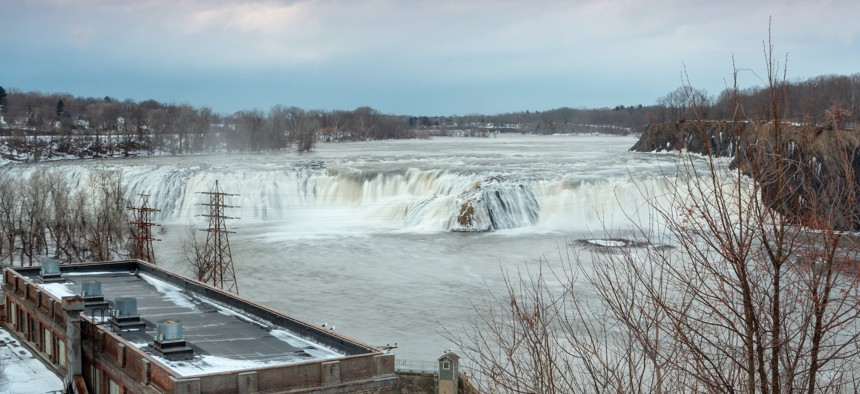 The Cohoes Falls on the Mohawk River in Cohoes, New York.