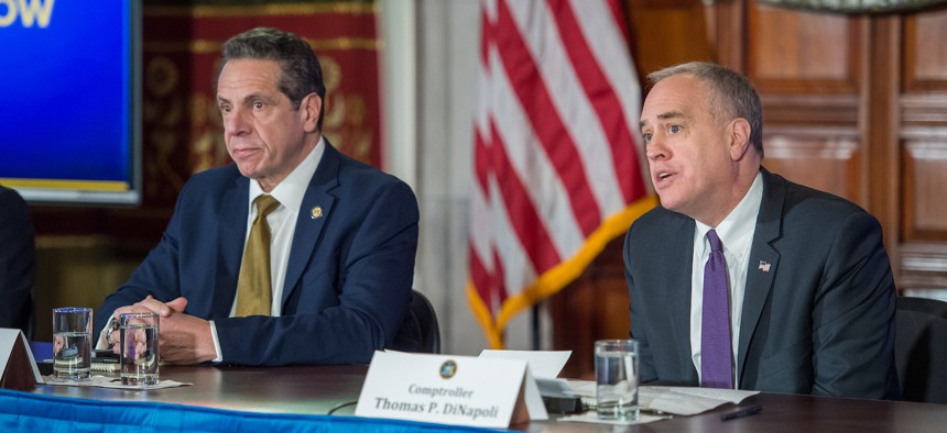 New York State Comptroller Thomas DiNapoli with Governor Cuomo in 2019.