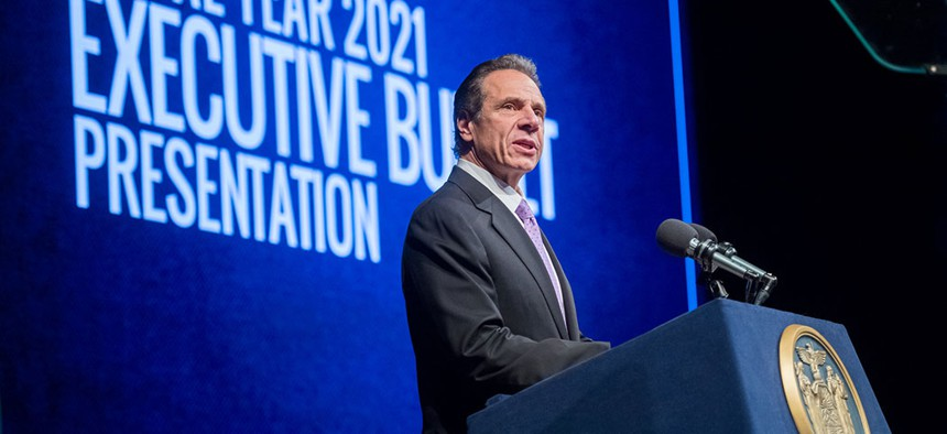 Governor Cuomo in Albany on Tuesday presenting the 2021 fiscal year budget.