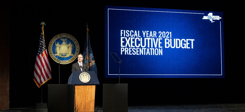Governor Cuomo presented the 2021 fiscal year budget in Albany on Tuesday.