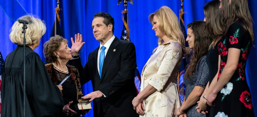 Governor Cuomo swearing into his third term in January, 2019.