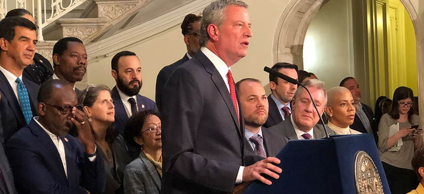 New York City Mayor Bill de Blasio announces the completion of the city's 2020 budget on Friday afternoon.