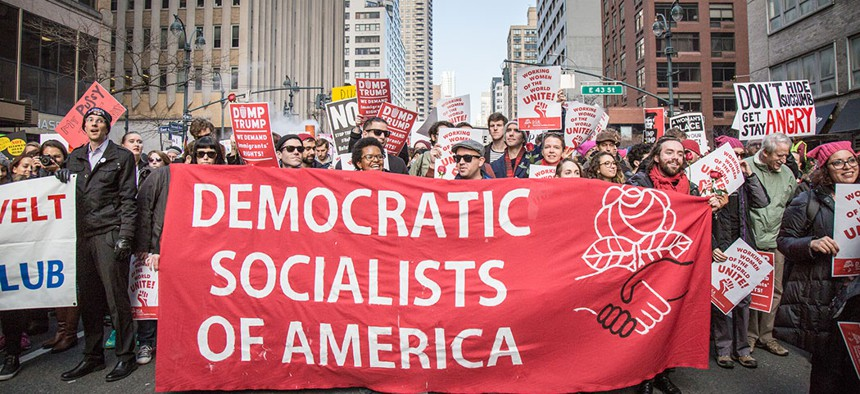 Democratic Socialists at the New York City Women's March on Jan. 21, 2017.