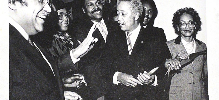 David Dinkins with Keith Wright, former Dinkins staffer when he was borough president.