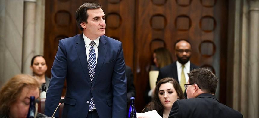 Deputy Majority Leader Senator Michael Gianaris oversees the Senate Chamber floor during multiple voting bills brought before the Senate.