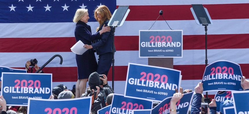 Connie Britton supports her former roommate Senator Kirsten Gillibrand at her presidential campaign kickoff.