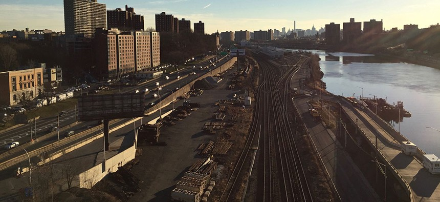 View from the High Bridge in the Bronx, the Bronx contains the poorest district in the U.S.