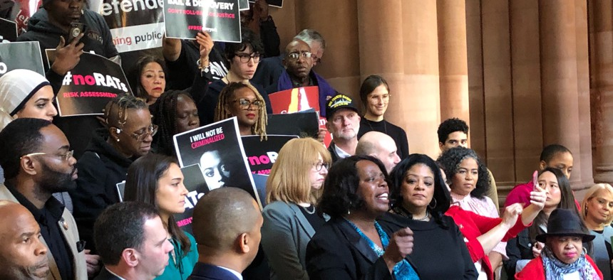 Assemblywoman Latrice Walker of Brooklyn speaks at a Feb. 12 rally in the state Capitol where lawmakers and activists criticized a proposal by Senate Democrats to change recently-enacted criminal justice reforms.