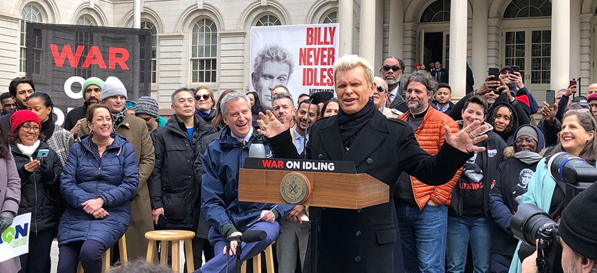 Billy Idol at a press conference with Mayor Bill de Blasio announcing a war on idling.