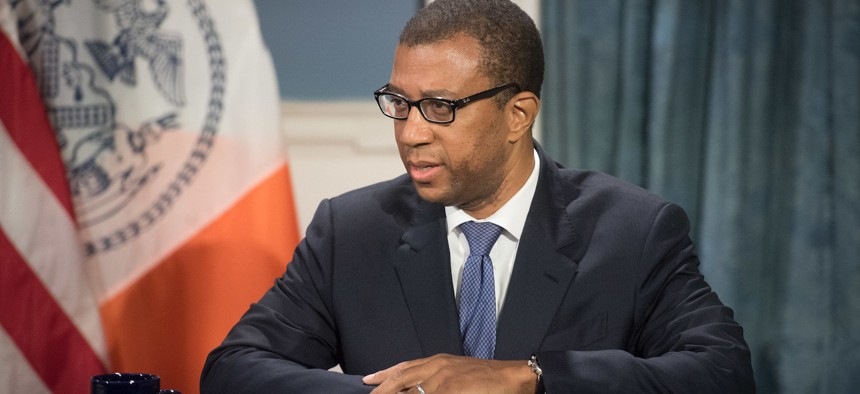 New York City Corporation Counsel James Johnson announces the city's lawsuit against the Trump administration.