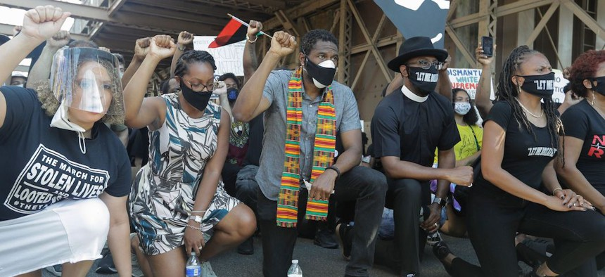 New York City Public Advocate Jumaane Williams leads protesters on a march across the Brooklyn Bridge on June 9, 2020.