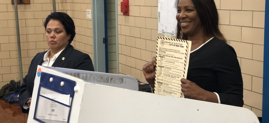 New York City Public Advocate Letitia James votes in the race for attorney general.