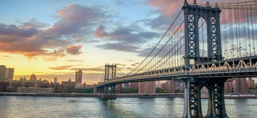 The Manhattan Bridge at sunset.