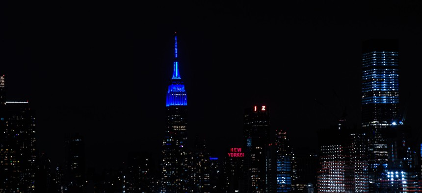 The Empire State Building lit up blue for MTA workers on Wednesday, April 19th.