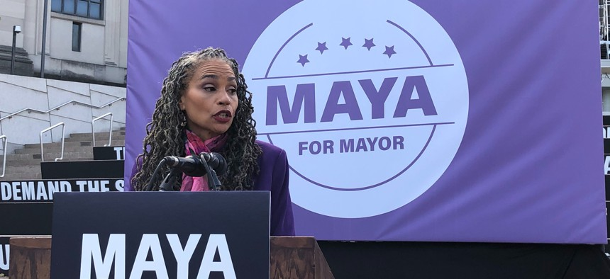 Maya Wiley at her mayoral campaign announcement today.
