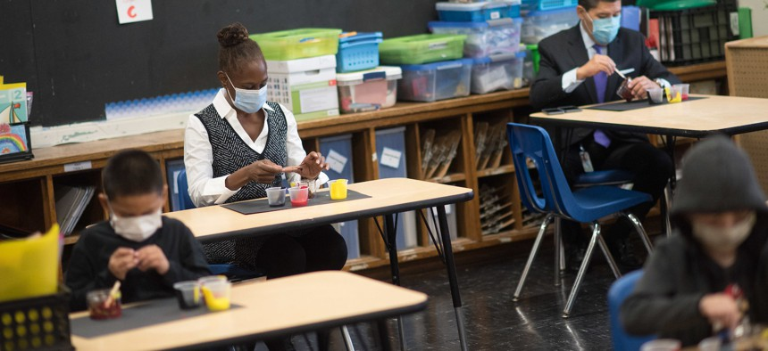 First Lady Chirlane McCray and Chancellor Richard Carranza at the Parkside School in October.