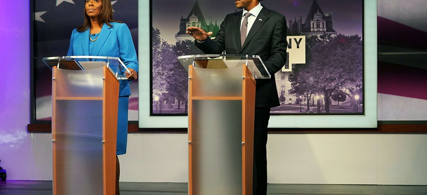 Debate between attorney general candidates Letitia James and Keith Wofford at NY 1 Studio, NYC.