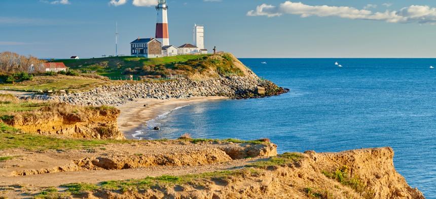 The Montauk Lighthouse and beach on Long Island.