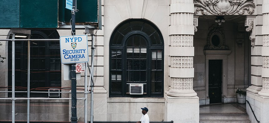 NYPD cameras sign in Manhattan.