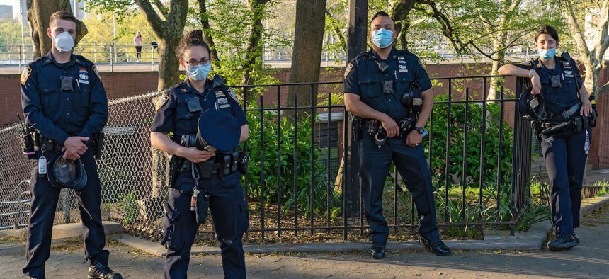 NYPD Officers in Astoria Park on May 3, 2020.