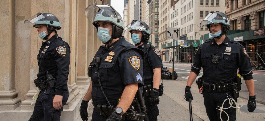 NYPD officers in riot gear responding to a protest on June 3, 2020.