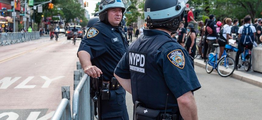 NYPD officers at a peaceful protest at Union Square on June 4, 2020.