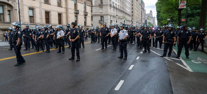 NYPD confronting a peaceful protest on June 5th in Manhattan.