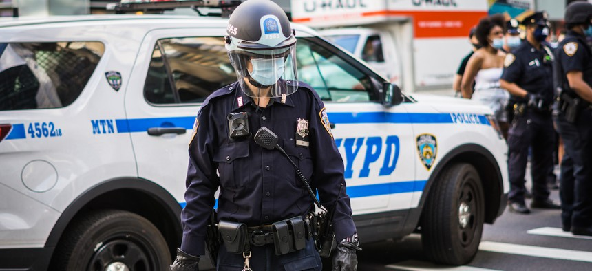 An NYPD officer during a protest against police brutality on May 30, 2020.