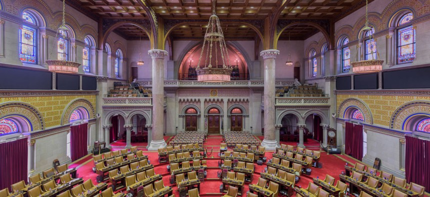the inside of the state Assembly chamber in Albany